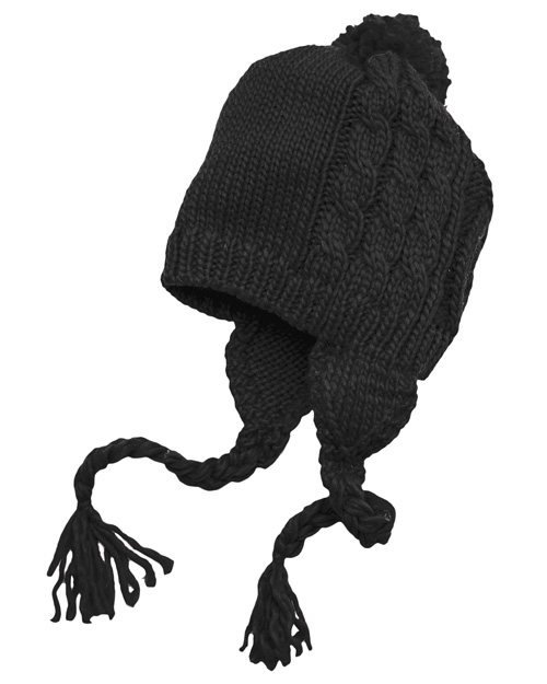 District Threads DT617  Cabled Beanie With Pom Black at bigntallapparel