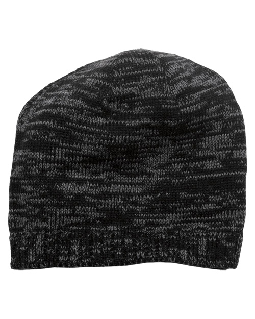 District Threads DT620  Spaced-Dyed Beanie Black/Charcoal at bigntallapparel