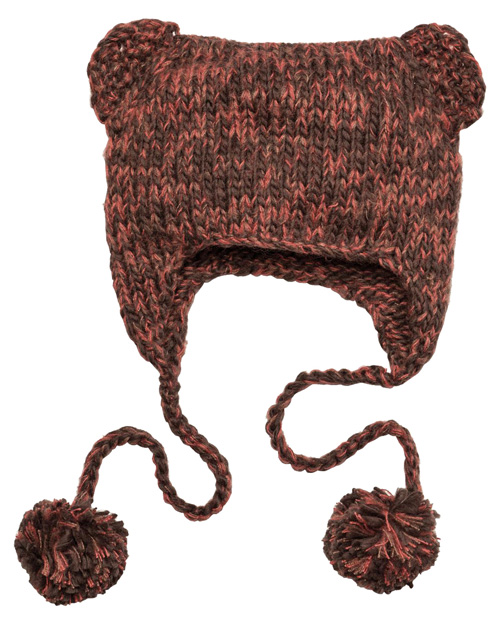 District Threads DT626  Hand-Knit Cat-Eared Beanie Persimmon Orng at bigntallapparel