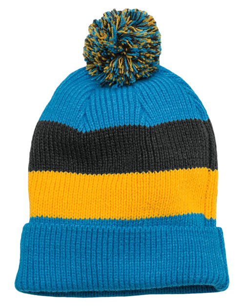 District Threads DT627  Vintage Striped Beanie With Removable Pom Turqu Multi at bigntallapparel