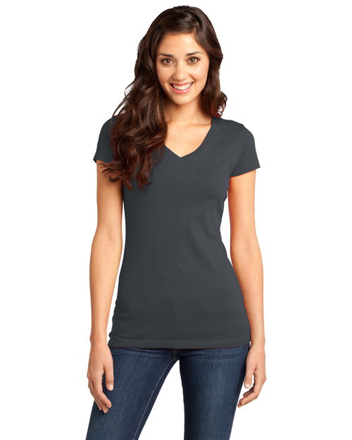 District Threads DT6501 Women Very Important V-Neck Tee Charcoal at bigntallapparel