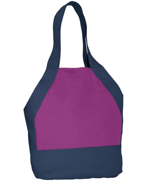 District Threads DT713  On-The-Go Canvas Tote Berry/Navy at bigntallapparel