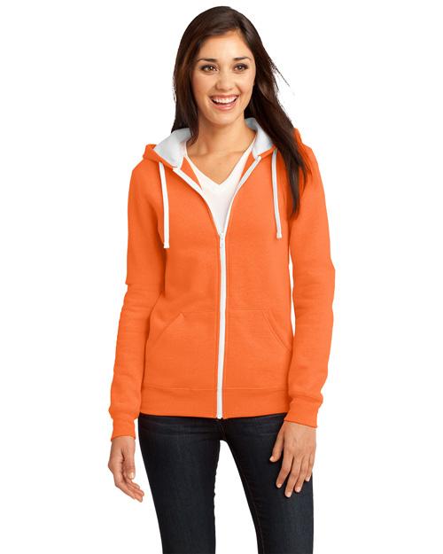 District Threads DT801 Women Concert Fleece Full-Zip Hoodie Neon Orange at bigntallapparel