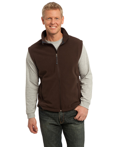 Port Authority F219 Men Value Fleece Vest Dark Chocoloate Brown at bigntallapparel