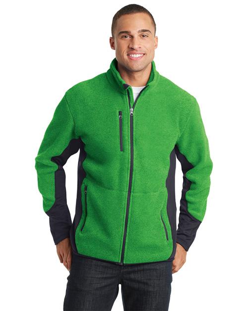 Port Authority F227 Men Rtek Pro Fleece Fullzip Jacket Lime He/Bat Gy at bigntallapparel