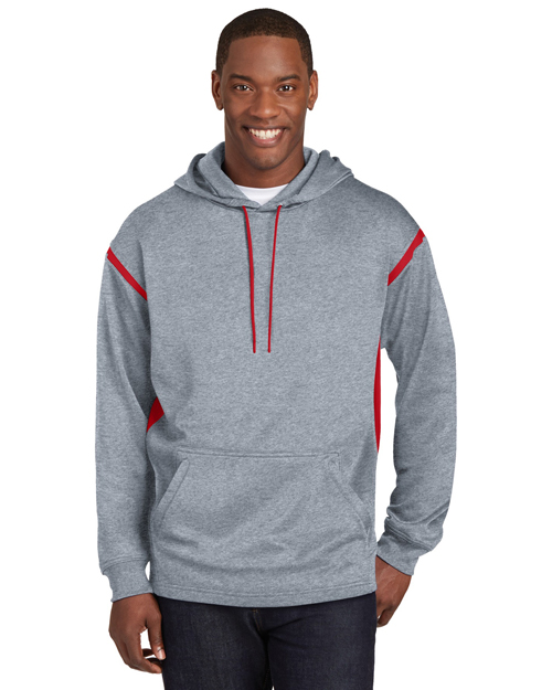Sport-Tek TST246 Men Tall Tech Fleece Hooded Sweatshirt Gry Hthr/Tr Rd at bigntallapparel