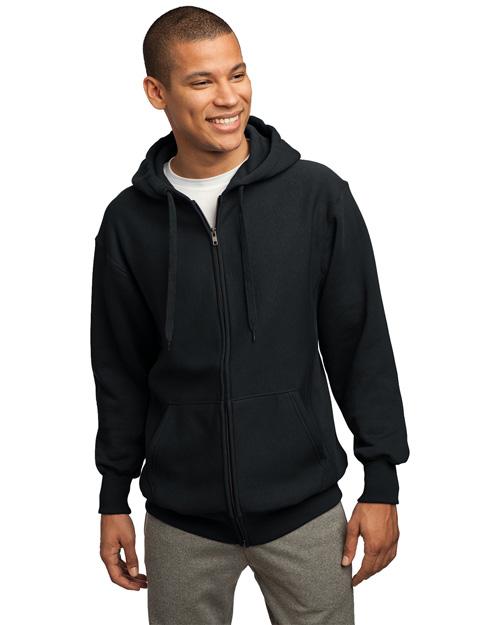 Sport-Tek F282 Men Super Heavy Weight Pullover Full Zip Hoodie Sweatshirt Black at bigntallapparel