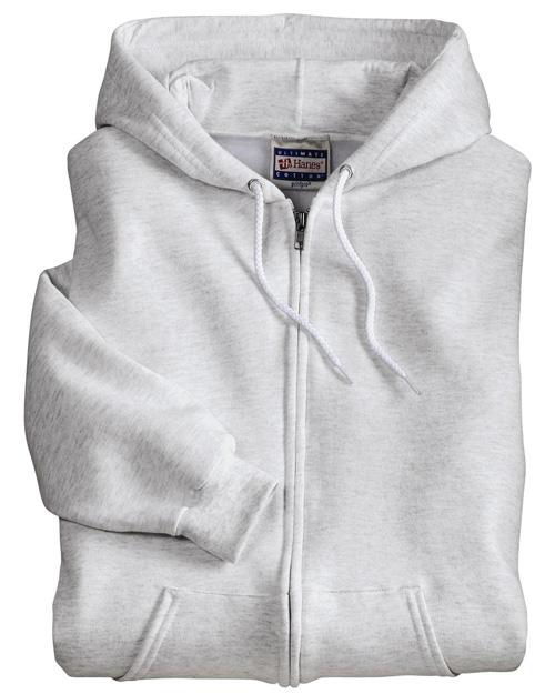 Hanes F283 Men Ultimate Cotton Full Zip Hooded Sweatshirt Ash at bigntallapparel