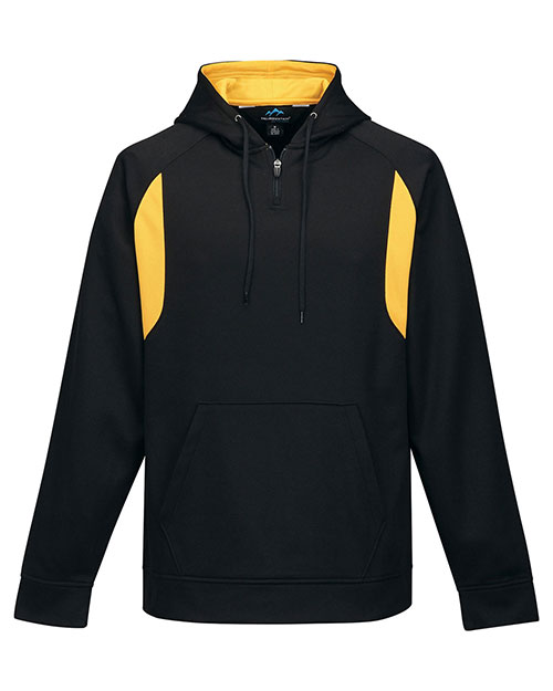 Tri-Mountain F7332 Men 100% Polyester Birdeye Hooded Pullover Black/Gold at bigntallapparel