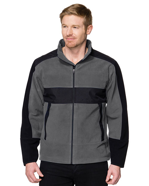 Tri-Mountain F7885 Men 100% Poly Fleece/Mesh Bonded Jacket Charcoal/Black at bigntallapparel