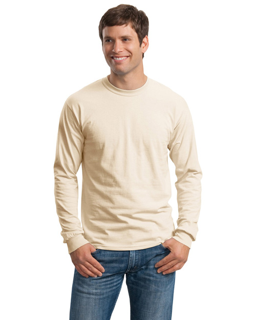 Gildan G2400 Men Ultra 100% Cotton Long Sleeve T Shirt Natural at bigntallapparel