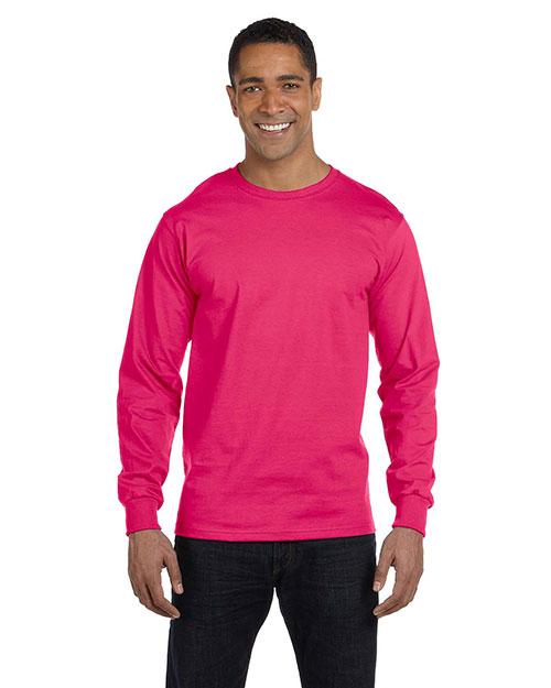 Fruit Of The Loom HD6LR Men  6 Oz., 100% Cotton Lofteez Hd Long-Sleeve T-Shirt Cyber Pink at bigntallapparel