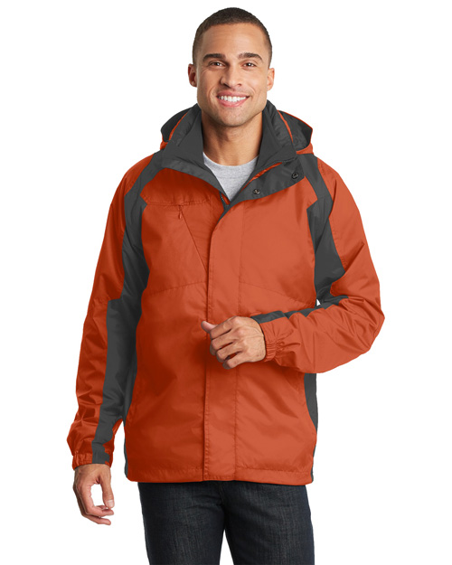 Port Authority J310 Men Ranger 3-In-1 Jacket Dark Cadmium Orange/Shadow at bigntallapparel