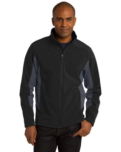 Port Authority J318 Men Core Colorblock Soft Shell Jacket Black/Bat Grey at bigntallapparel