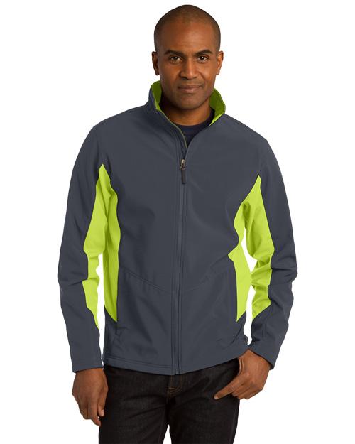 Port Authority TLJ318 Men Tall Core Colorblock Soft Shell Jacket Bat Gry/Ch Grn at bigntallapparel