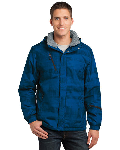 Port Authority J320 Men Brushstroke Print Insulated Jacket blue at bigntallapparel