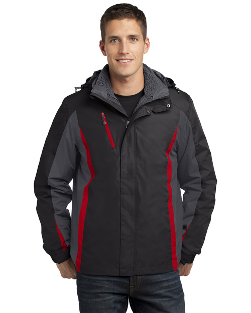 Port Authority J321 Men Colorblock 3in1 Jacket Blk/Mag Gy/Red at bigntallapparel