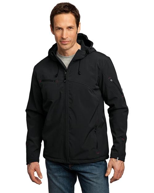 Port Authority Signature J706 Men Textured Hooded Soft Shell Jacket Black/Engine Red at bigntallapparel