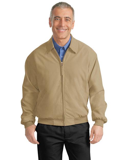 Port Authority J730 Men  Casual Microfiber Jacket Khaki/Solid Bright Navy Linin at bigntallapparel