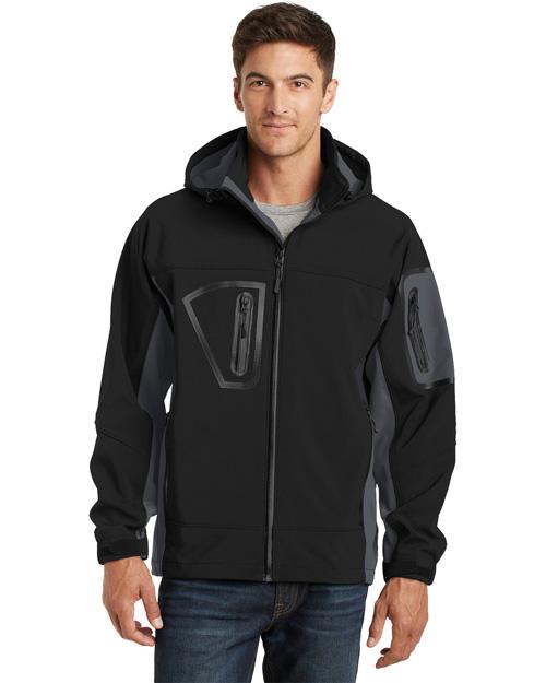 Port Authority J798 Men Waterproof Soft Shell Jacket Black/Graphite at bigntallapparel
