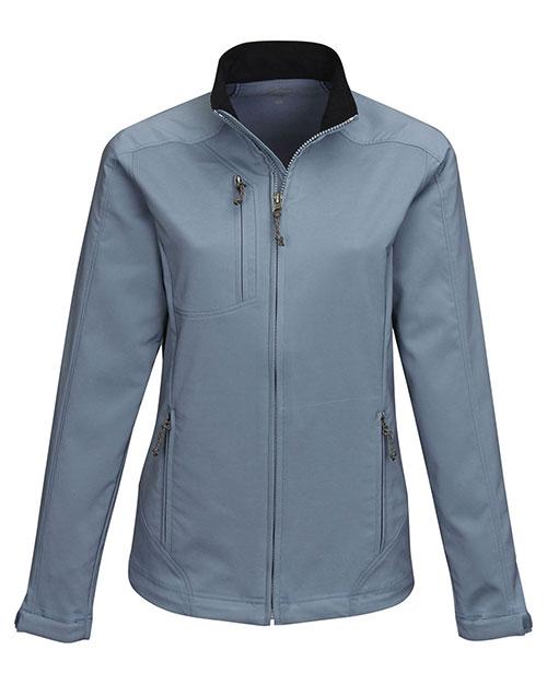 Tri-Mountain JL6205 Women 96% Polyester 4% Spandex Dobby Full Zip Jacket Slate Blue at bigntallapparel