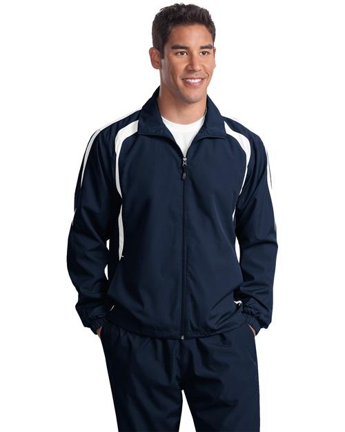 Sport-Tek TJST60 Men Tall Colorblock Raglan Jacket Tr Navy/White at bigntallapparel