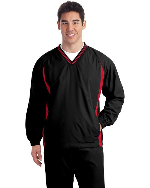 Sport-Tek JST62 Men Tipped V Neck Raglan Wind Shirt Black/True Red at bigntallapparel