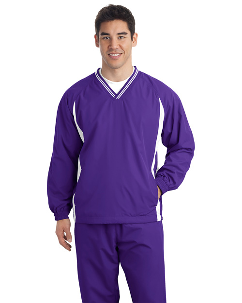 Sport-Tek TJST62 Men Tall Tipped Vneck Raglan Wind Shirt Purple/White at bigntallapparel