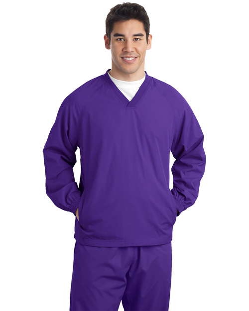 Sport-Tek JST72 Men V Neck Raglan Wind Shirt Purple at bigntallapparel
