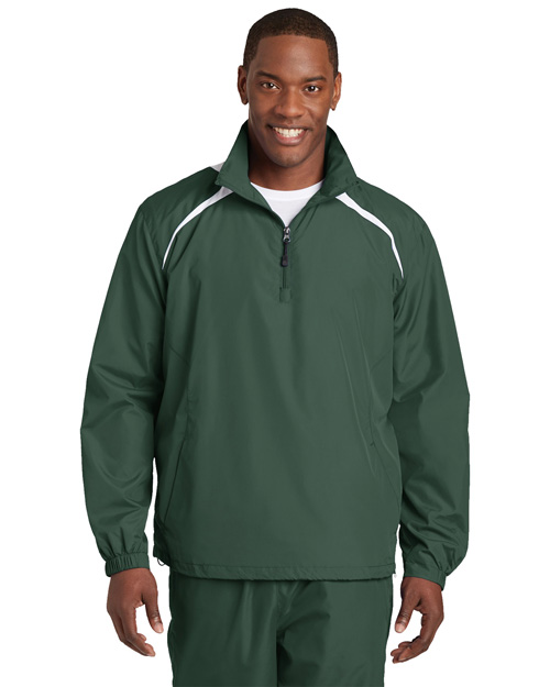 Sport-Tek JST75 Men 1/2 Zip Wind Shirt Forest Green/White at bigntallapparel