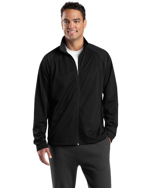 Sport-Tek JST90 Men Tricot Track Jacket Black/Black at bigntallapparel