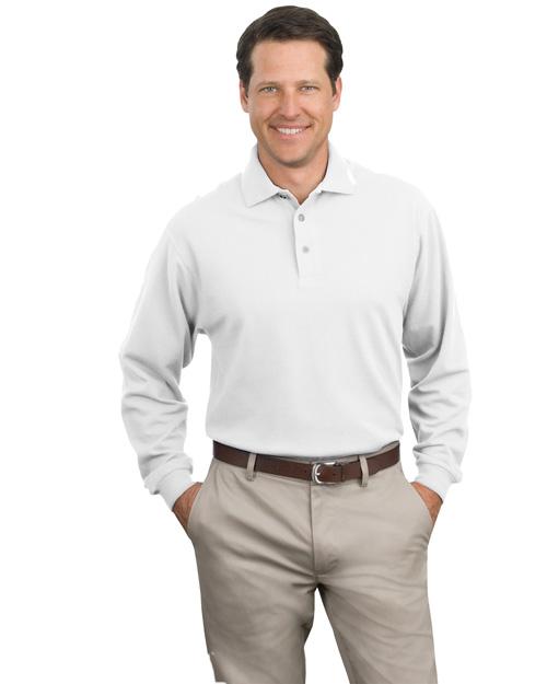 Port Authority K320 Men Long Sleeve Pique Knit Polo Sport Shirt White at bigntallapparel