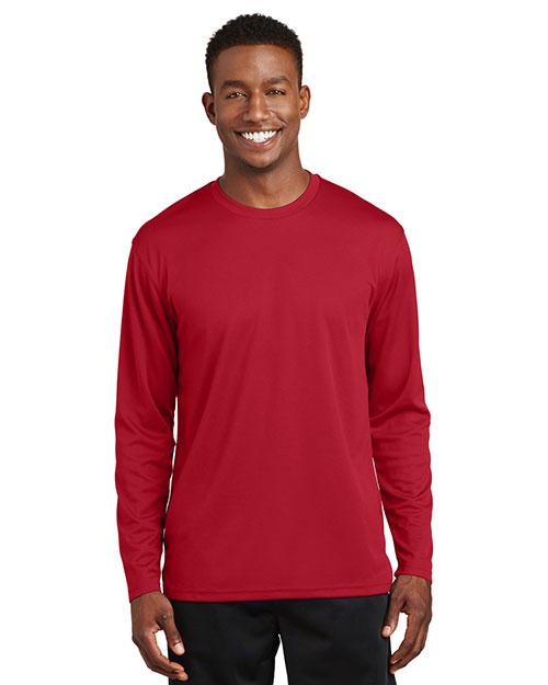 Sport-Tek K368 Men  Dri Mesh Long Sleeve T Shirt Red at bigntallapparel