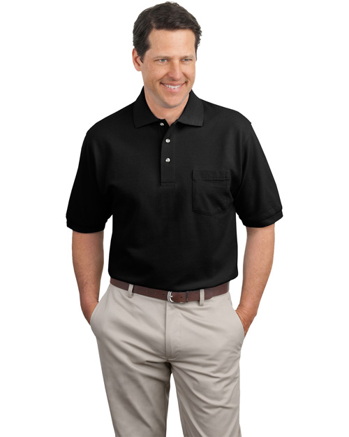 Port Authority K420P Men Pique Knit Polo Sport Shirt With Pocket Black at bigntallapparel