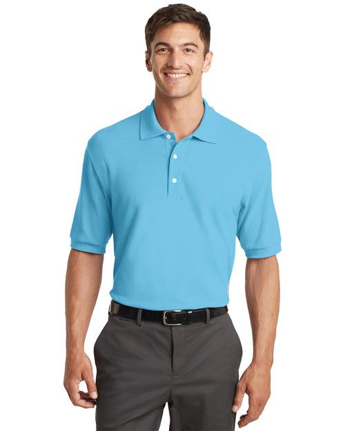 Port Authority K448 Men 100% Pima Cotton Polo Sport Shirt Blue Surf at bigntallapparel