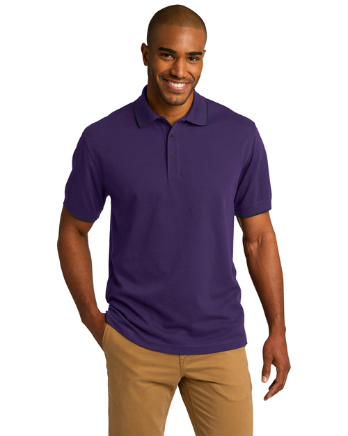 Port Authority K454 Men Rapid Dry Tipped Polo Br Purp/Cl Nvy at bigntallapparel