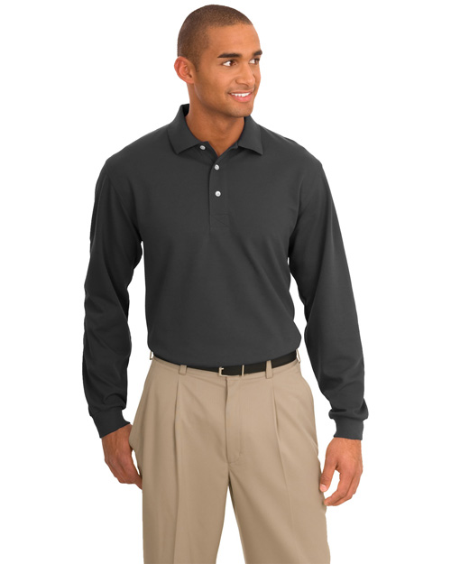 Port Authority Signature K455LS Men Rapid Dry Long Sleeve Sport Shirt Charcoal at bigntallapparel