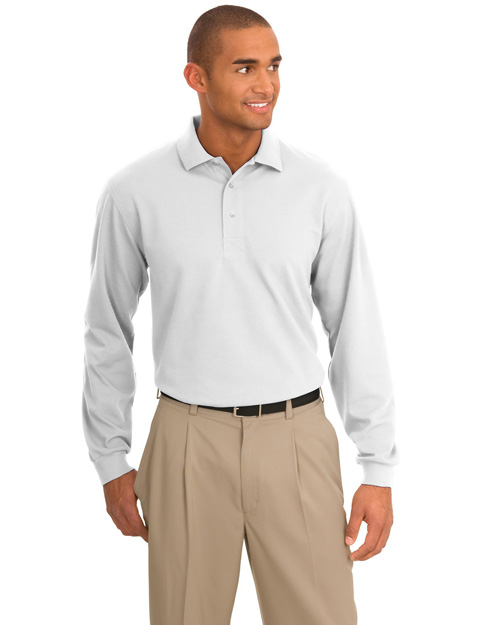 Port Authority TLK455LS Men Tall Rapid Dry? Long Sleeve Polo White at bigntallapparel