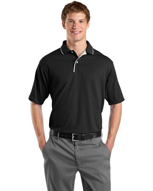 Sport-Tek K467 Men Dri Mesh Sport Shirt With Striped Collar Black/White at bigntallapparel