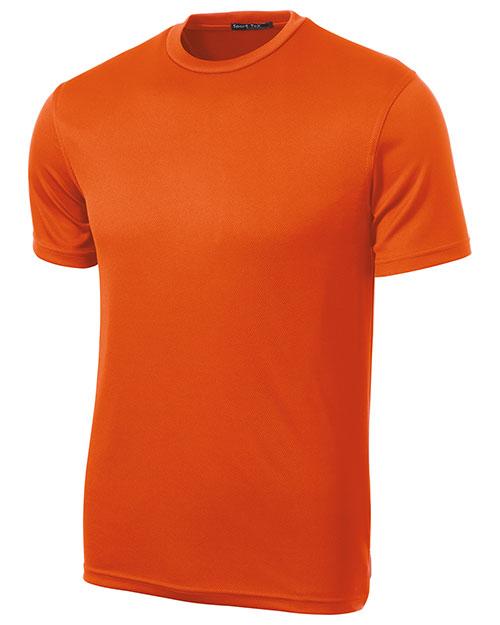 Sport-Tek K468 Men  Dri Mesh Short Sleeve T Shirt Bright Orange at bigntallapparel