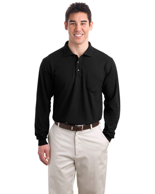 Port Authority TLK500LSP Men Tall Silk Touch Long Sleeve Polo With Pocket Black at bigntallapparel