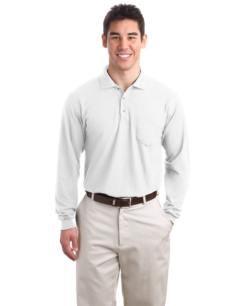 Port Authority K500LSP Men Silk Touch Long Sleeve Polo Sport Shirt With Pocket White at bigntallapparel