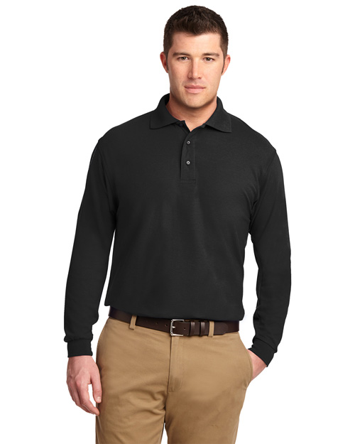 Port Authority K500LS Men Silk Touch Long Sleeve Polo Sport Shirt Black at bigntallapparel