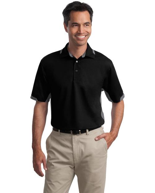 Port Authority Signature K524 Men Dry Zone Colorblock Ottoman Sport Shirt Black/Iron Grey at bigntallapparel