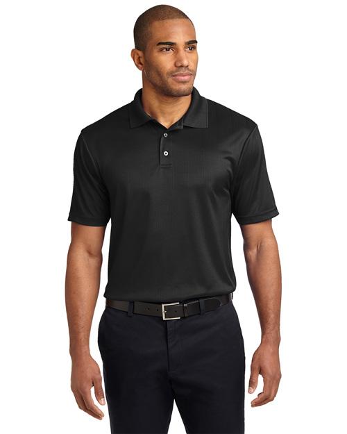 Port Authority K528 Men Performance Fine Jacquard Sport Shirt Black at bigntallapparel