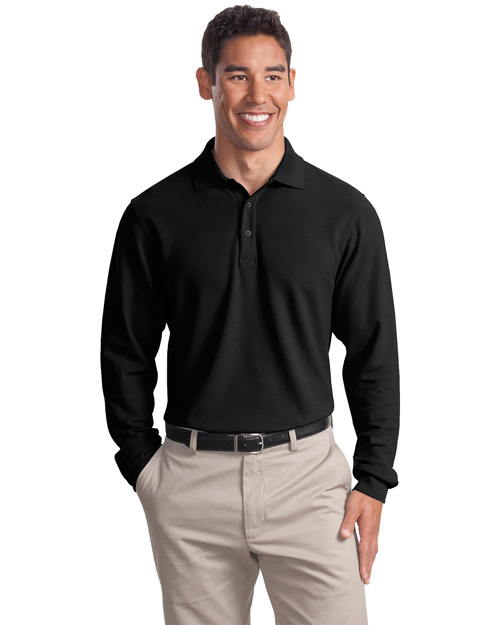 Port Authority Signature K800LS Men Long Sleeve Ez Cotton Pique Sport Shirt Black at bigntallapparel