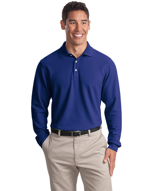 Port Authority TLK800LS Men Tall Long Sleeve Ezcotton? Pique Polo Cobalt Blue at bigntallapparel