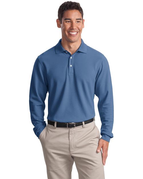 Port Authority Signature K800LS Men Long Sleeve Ez Cotton Pique Sport Shirt Moonlight Blue at bigntallapparel