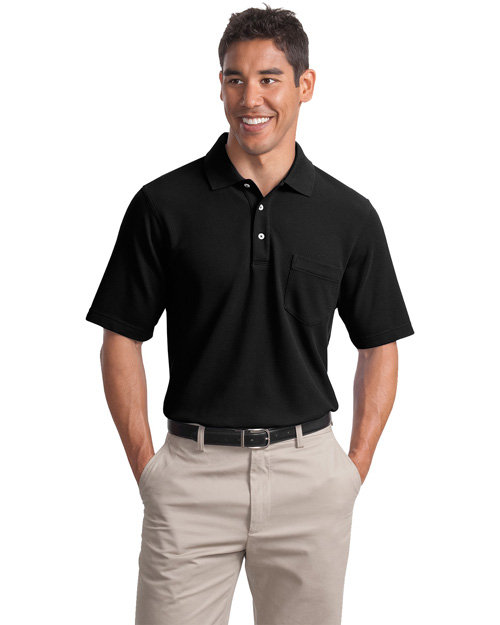 Port Authority Signature K800P Men Ez Cotton Pique Pocket Sport Shirt Black at bigntallapparel