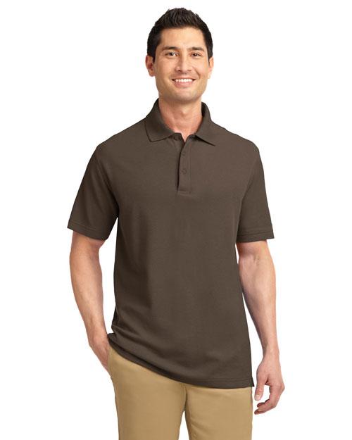 Port Authority K800 Men Ez Cotton Pique Sport Shirt Brown at bigntallapparel